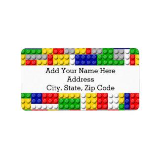 Building Blocks Primary Color Boy's Birthday/Party Address Label