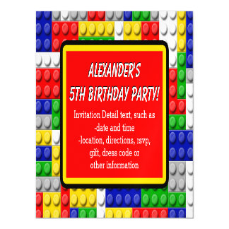 Building Blocks Primary Color Boy's Birthday/Party Magnetic Card