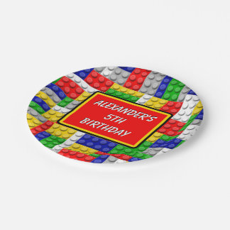Building Blocks Primary Color Boy's Birthday/Party Paper Plate