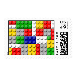 Building Blocks Primary Color Boy's Birthday/Party Postage Stamps