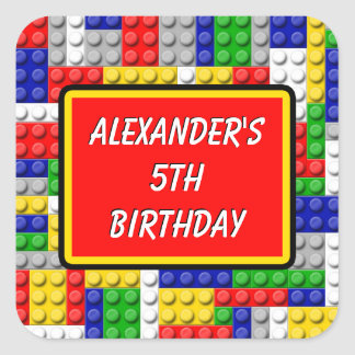 Building Blocks Primary Color Boy's Birthday/Party Square Sticker
