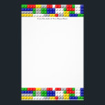 """Building Blocks Primary Color Boy&#39;s Birthday/Party Stationery<br><div class=""""desc"""">Cool Primary colors,  red green blue yellow white and gray,  linked interlocking generic brick building blocks pattern looks like fun children&#39;s play toys. Great for a Boy&#39;s birthday party theme as favors and decorations.</div>"""