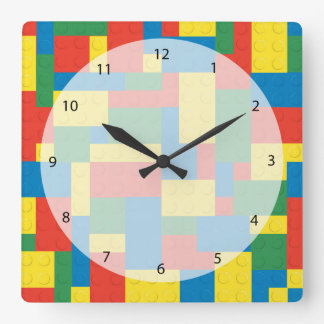 Building blocks square wall clock