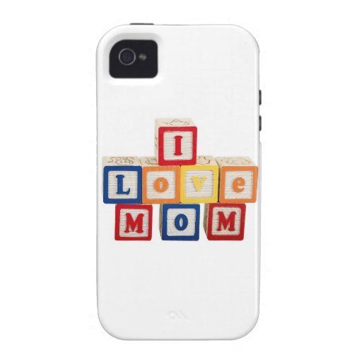 """building blocks stacked so they say, """"I love mom"""" Case-Mate iPhone 4 Cases"""