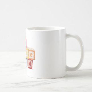 "building blocks stacked so they say, ""I love mom"" Coffee Mug"