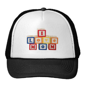 """building blocks stacked so they say, """"I love mom"""" Trucker Hat"""