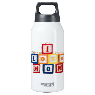 """building blocks stacked so they say, """"I love mom"""" Insulated Water Bottle"""