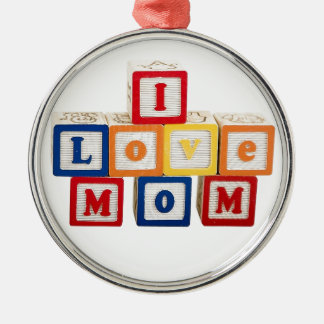 """building blocks stacked so they say, """"I love mom"""" Metal Ornament"""