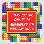 Building Blocks Thank You Boy's Birthday Party Square Sticker