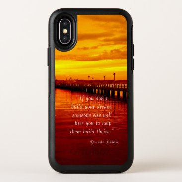 Beach Themed Building dream hope quote sunset background OtterBox symmetry iPhone x case