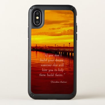 Beach Themed Building dream hope quote sunset background speck iPhone x case