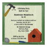 Building Fun Birthday 5.25x5.25 Square Paper Invitation Card