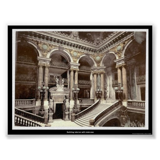 Building interior with staircase poster
