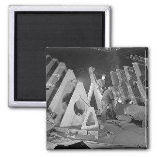 Building Liberty Ships, 1941 2 Inch Square Magnet