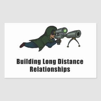 building long distance relationships rectangular sticker