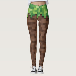 Building Mining Video Game Pixelated Grass Dirt Leggings