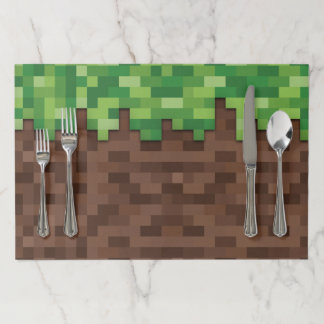 Building Mining Video Game Pixelated Grass Dirt Paper Placemat