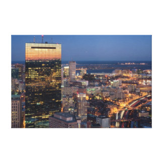 Building of Boston with light trails on road Gallery Wrap Canvas
