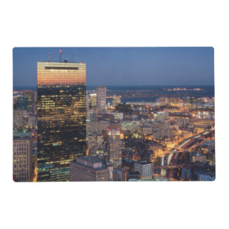 Building of Boston with light trails on road Laminated Place Mat