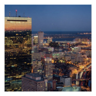 Building of Boston with light trails on road Poster