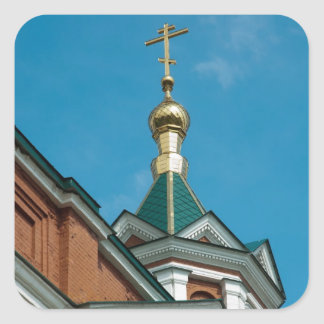 Building of Russian church with a golden cross on Square Sticker