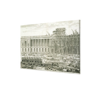 Building of the Main Entrance of the Louvre, Paris Stretched Canvas Print