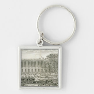 Building of the Main Entrance of the Louvre, Paris Silver-Colored Square Keychain