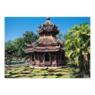 Building on Lily Pond, Ancient City  flowers 5x7 Paper Invitation Card