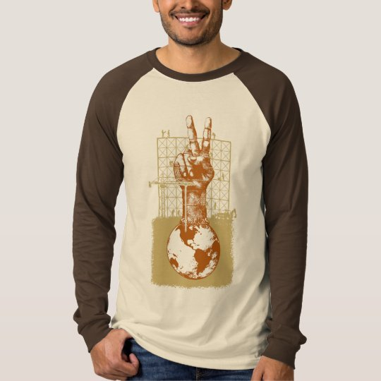 Building Peace Brown Long Sleeve Raglan T-Shirt