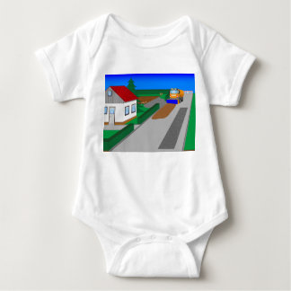 Building site with sweeping machine baby bodysuit
