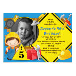 "BUILDING SOME FUN  Construction Party Invitation 5"" X 7"" Invitation Card"