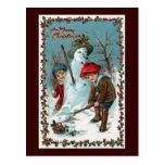"""Building the Snowman"" Vintage Post Cards"