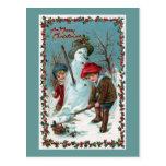 """""""Building the Snowman"""" Vintage Postcard"""