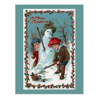 """Building the Snowman"" Vintage Postcard"