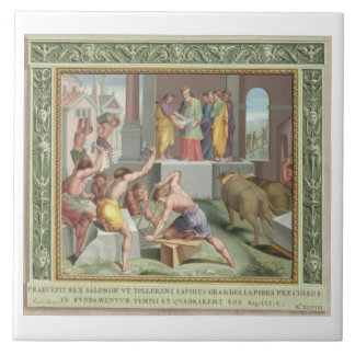 Building The Temple of Solomon, illustration from Ceramic Tile