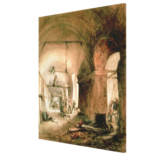 Building the Thames Tunnel, , c.1830 Stretched Canvas Print