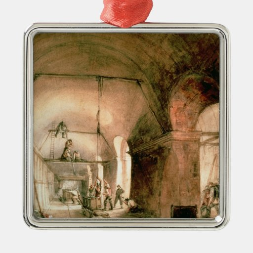 Building the Thames Tunnel, , c.1830 Christmas Ornaments