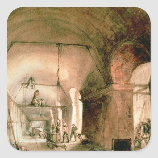Building the Thames Tunnel, , c.1830 Square Stickers