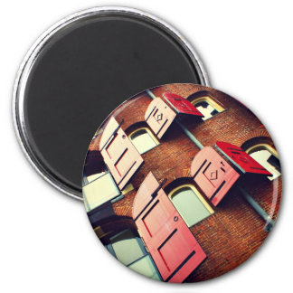 Building Themed, Tall Red Brick Apartment Building 2 Inch Round Magnet