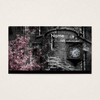 Building with Pink Bushes/Grunge Business Cards