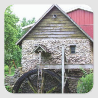 Building with Water Wheel Square Sticker