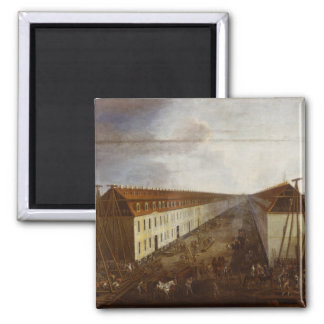 Building works on Friedrichstrasse in Berlin 2 Inch Square Magnet