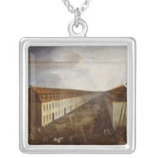 Building works on Friedrichstrasse in Berlin Silver Plated Necklace