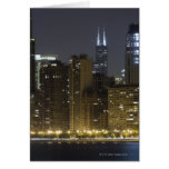 Buildings along the Chicago lakefront at night, Card
