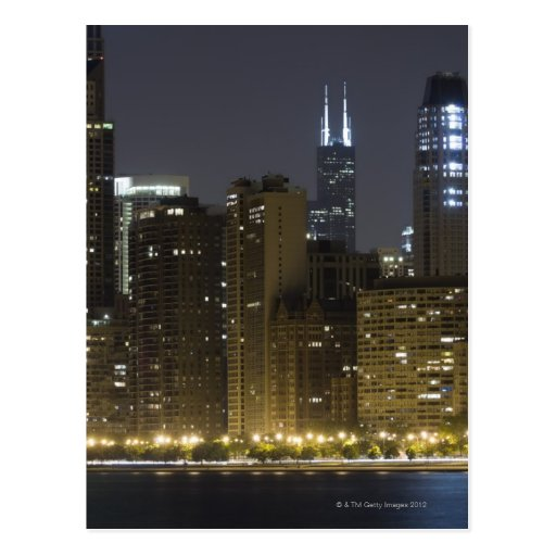 Buildings along the Chicago lakefront at night, Post Card