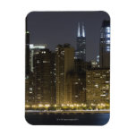 Buildings along the Chicago lakefront at night, Vinyl Magnets