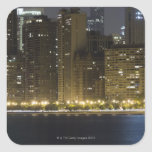 Buildings along the Chicago lakefront at night, Square Stickers