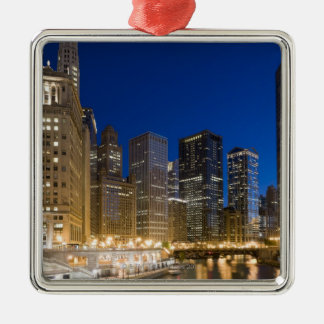 Buildings along the Chicago Riverfront at dusk. Square Metal Christmas Ornament