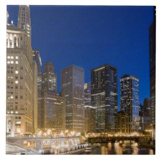 Buildings along the Chicago Riverfront at dusk. Ceramic Tile
