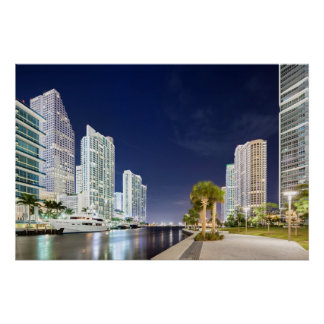 Buildings along the Miami River Riverwalk Poster
